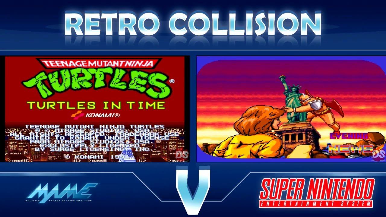 Retro Collision: TMNT Turtles in Time Arcade VS SNES