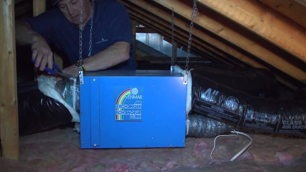 venmar ea1500 air exchanger installation in attic of a house - youtube