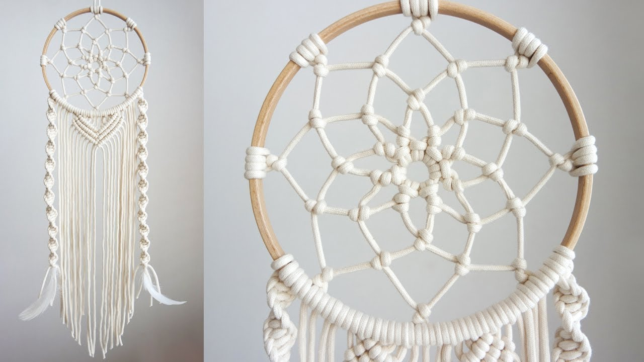 Diy Macrame Dreamcatcher 5 마크라메 드림캐쳐 5 Youtube