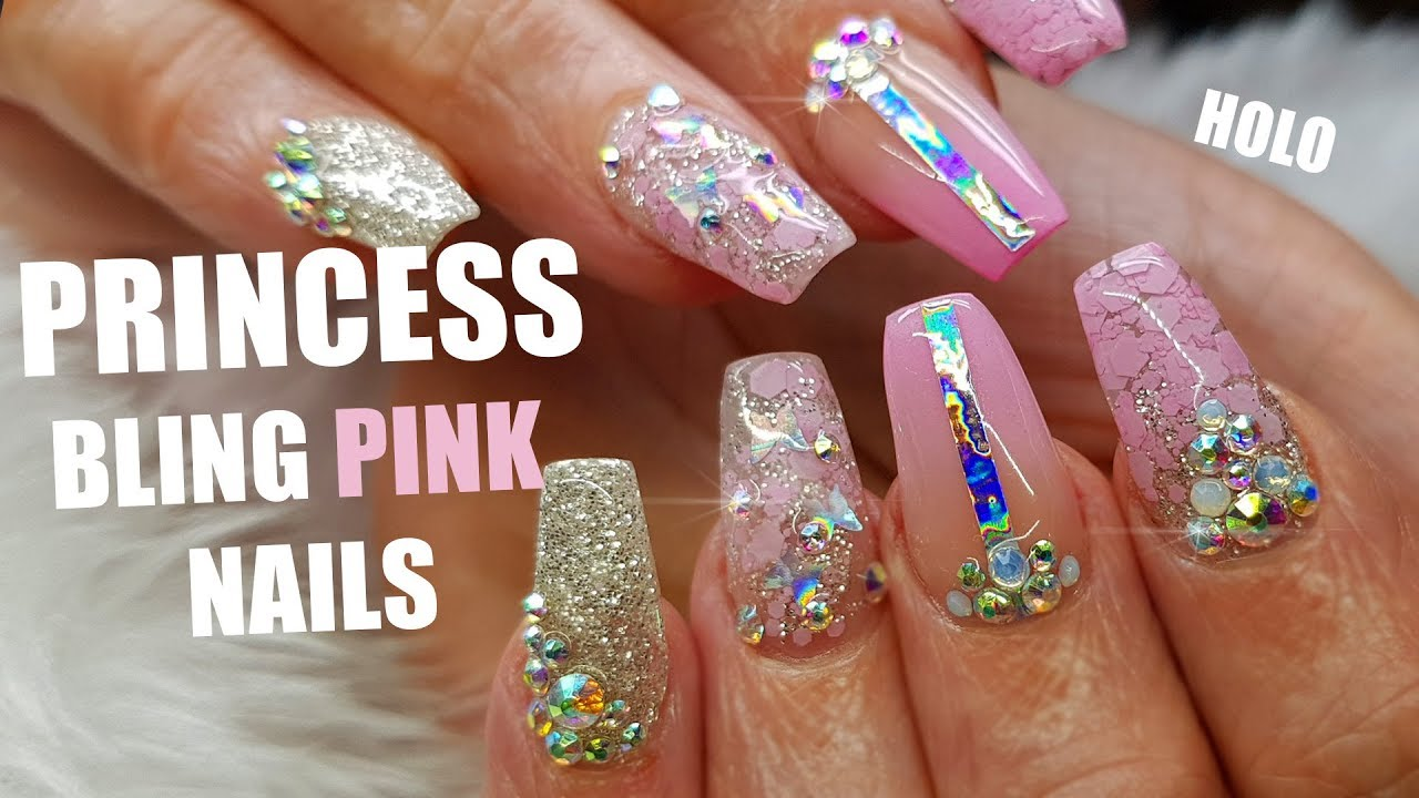 Acrylic Nails Pink Coffin Shape With Bling And Glitter Princess