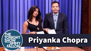 Priyanka Chopra and Jimmy Have a Wing-Eating Contest(Priyanka Chopra shows Jimmy how they do it in Queens, New York, by challenging Jimmy to see who can eat the most nuclear sauce-covered Atomic Wings in ..., 2016-03-04T12:00:00.000Z)