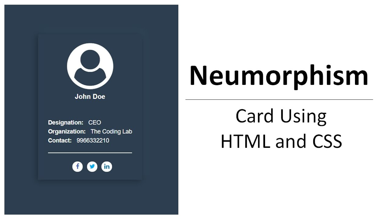 Neumorphism Card Design using HTML and CSS | Pure CSS Card