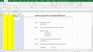 Excel - Epsilon squared for Kruskal Wallis test (quick)