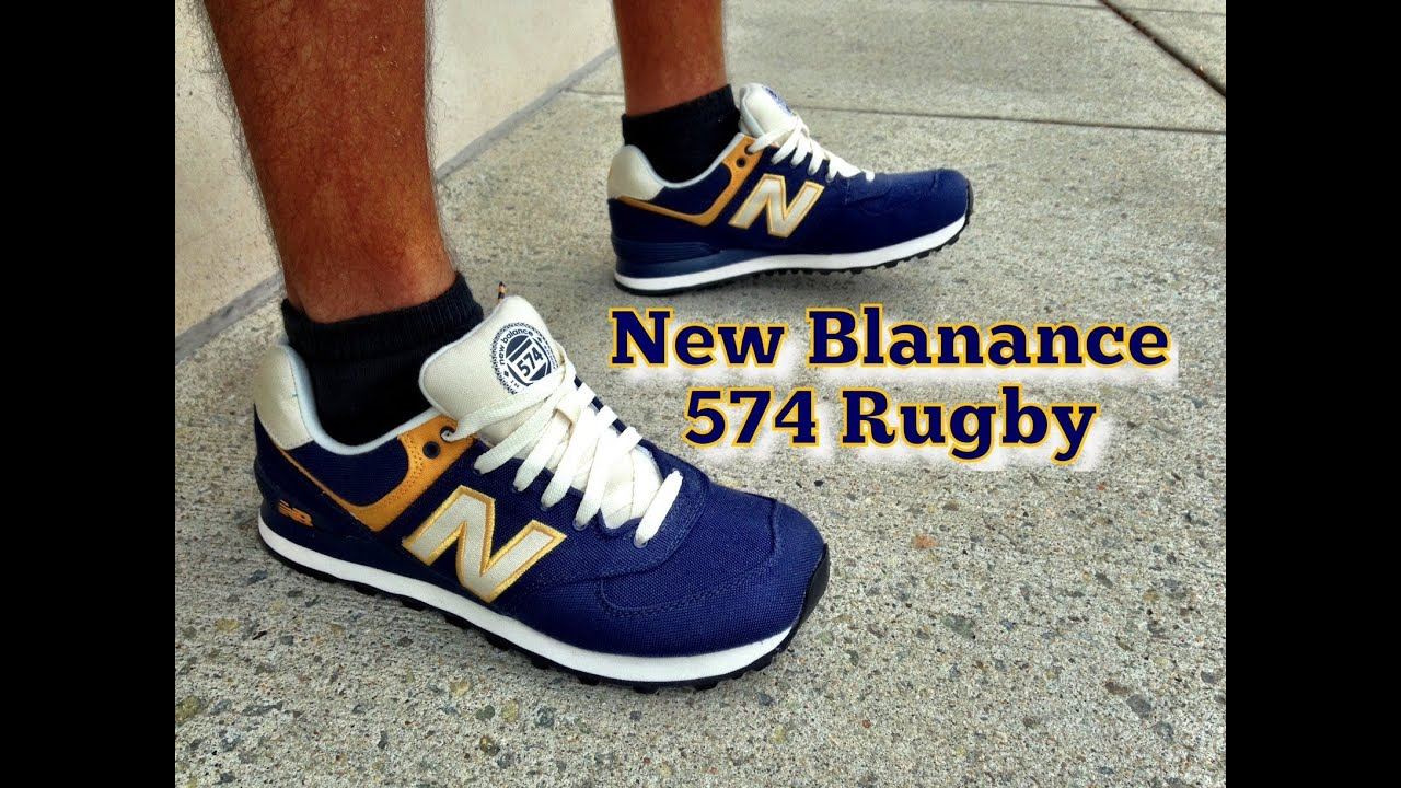 New Balance 574 Rugby Navy/Yellow Review & On Feet - Gift ...