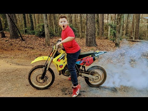 His dirt bike has to be rebuilt. Let's burn some rubber first.