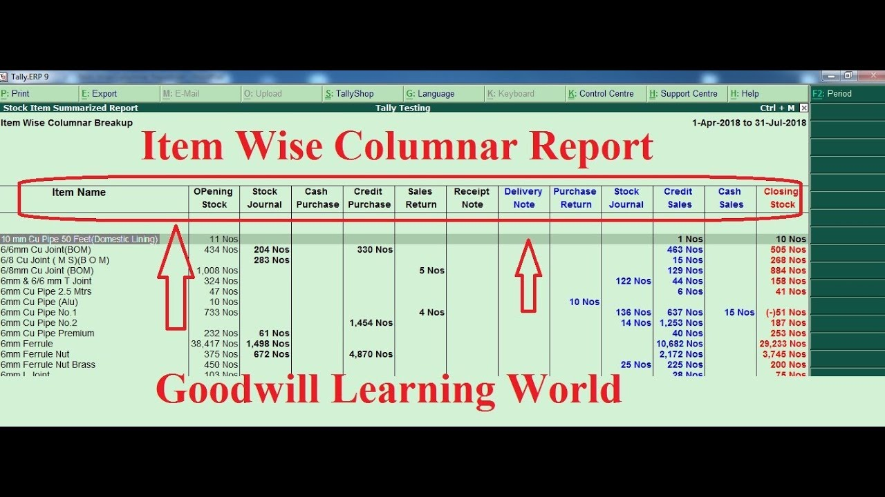 Tally TDL for Item Wise Columnar Report :Tally Add on for Item Wise  Columnar Report