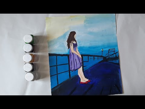 how-to-paint-a-girl-standing-alone|-acrylic-painting-scenery-|-sunset-easy-painting-tutorial