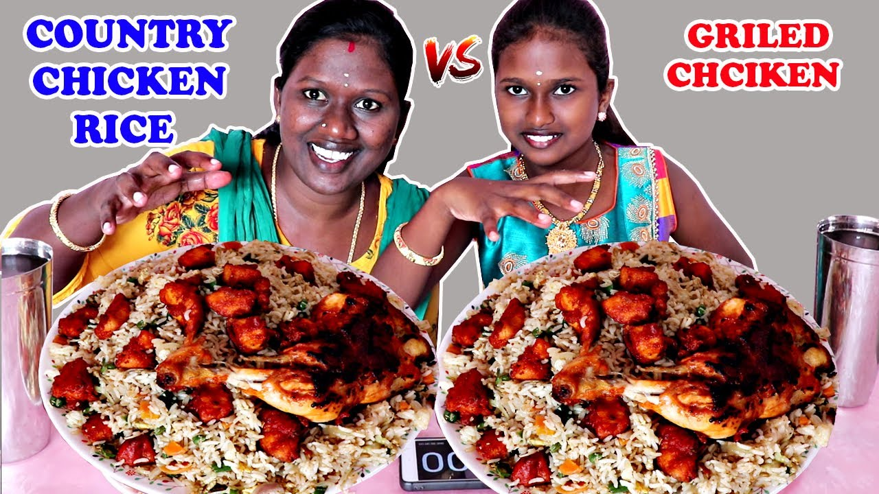 COUNTRY CHICKEN RICE & GRILLED CHICKEN LEG FRY EATING COMPETITION IN TAMIL FOODEIS DIVYA vs ANUSHYA