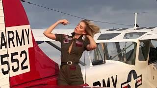 Topmodel girl versus Aircraft plane - Alina versus Vietnam Cessna L19 Bird Dog Markus Tatscher 2018