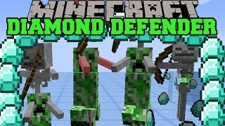 Minecraft: DIAMOND DEFENDER (BEAT CREEPERS WITH STICKS TO PROTECT DIAMONDS!) Mini-Game