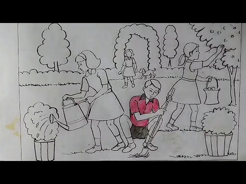 How to draw memory drawing - Children's watering the ...