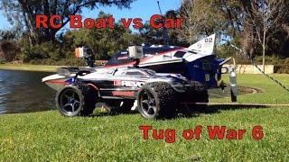 RC Boat vs RC Car Tug of war 6