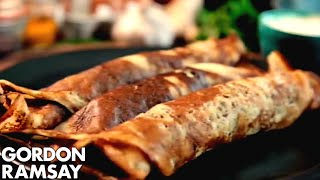 A spiced pancake batter filled with a delicious potato filling. A spicy, savoury breakfast dish inspired by the flavours of India. Gordon Ramsay Ultimate Fit Food: ...