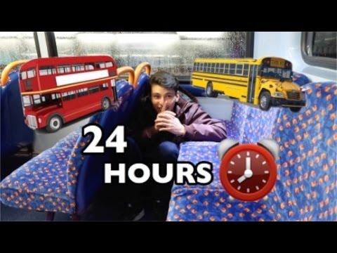 24 HOUR OVERNIGHT In School Bus Fort!