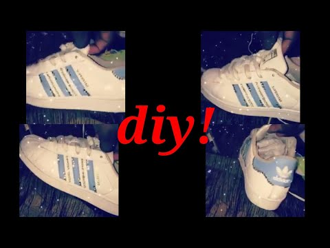 Diy tutorial of cute bedazzled adidas (less than 10 minutes!!)