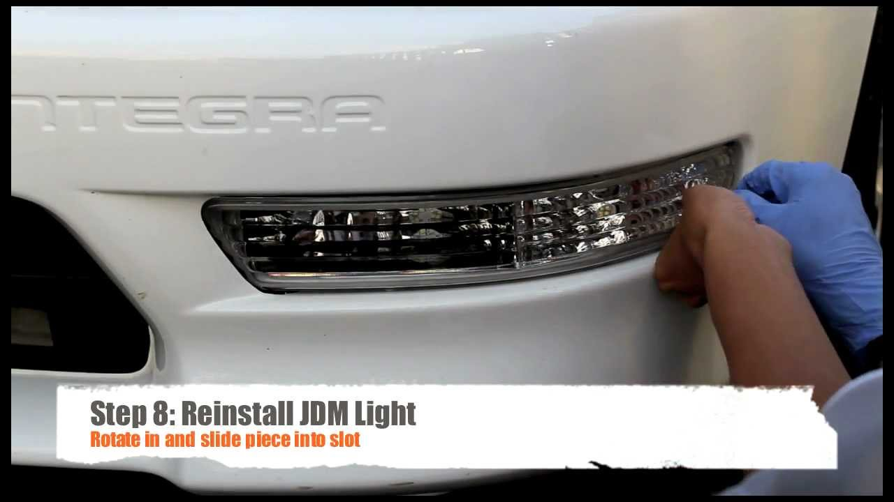 9801 Integra Clear Bumper Light Install YouTube