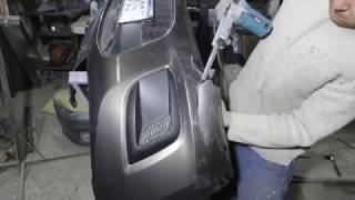 Ремонт бампера Лада Калина 2. Пайка пластика феном