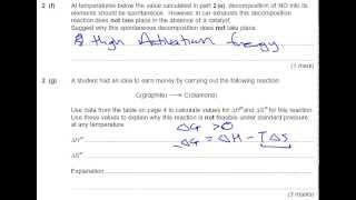 solution to entropy a level chemistry past exam paper unit 5