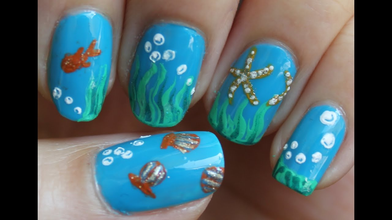 Perfect Aqua Marine Nailart You Qv83