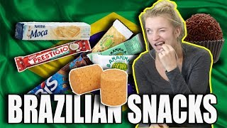 AMERICAN TRYING BRAZILIAN SNACKS FOR THE FIRST TIME! (LEGENDADO)