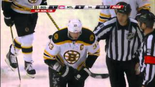 Zdeno Chara gets a shot in the face