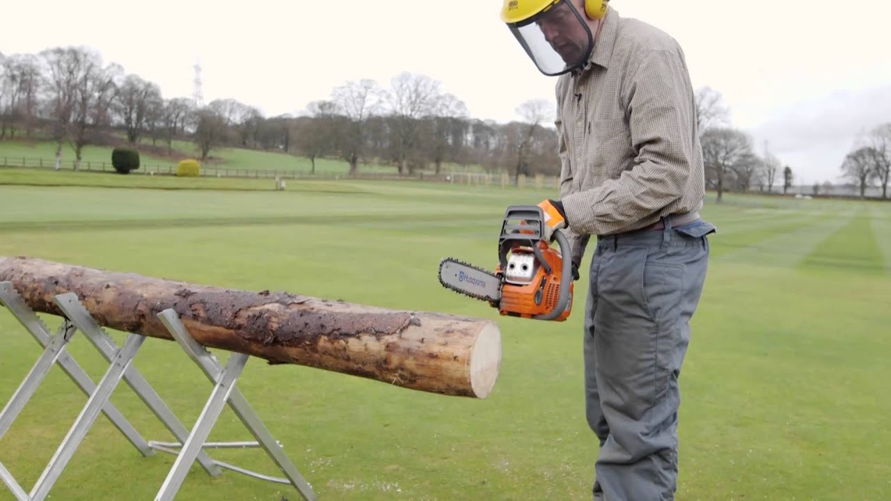 Cutting Small Logs With Chainsaw