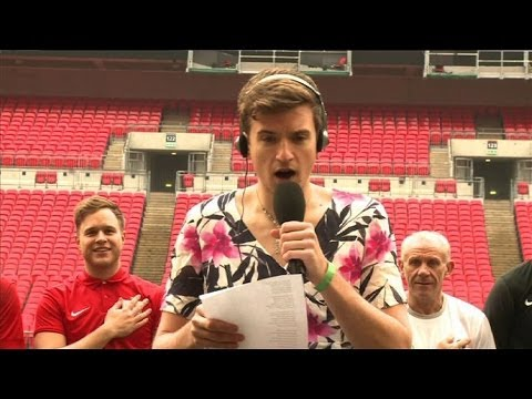 Greg James....in a dress...singing the national anthem!