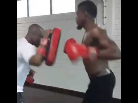 Ghana defender Jerry Akaminko boxing to fitness