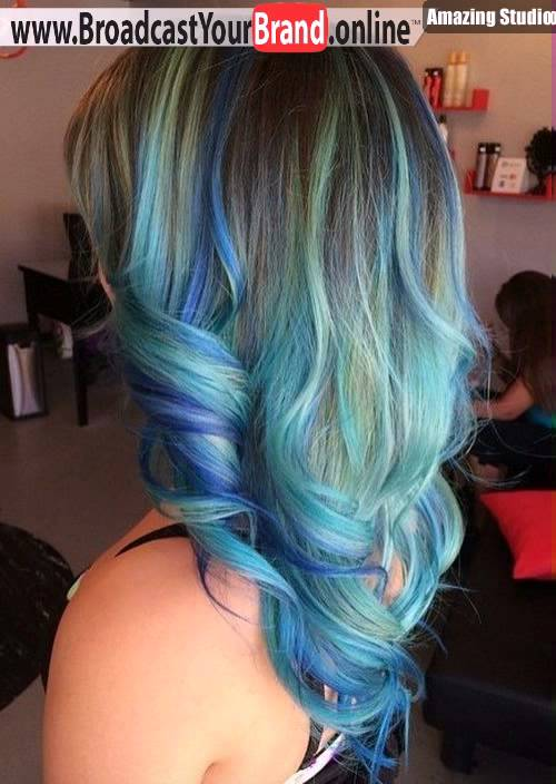 Blue And Teal Balayage For Brown Hair Trending Hairstyles