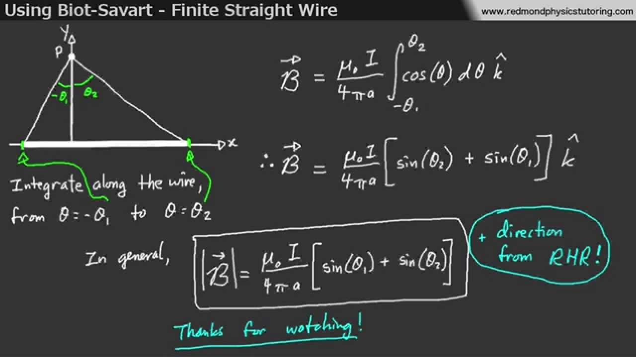 medium resolution of using biot savart to find the magnetic field from a finite wire youtube