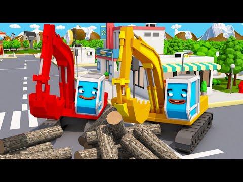 Экскаватор ПОЛ в Авто Городе Помогает Друзьям Детский мультфильм