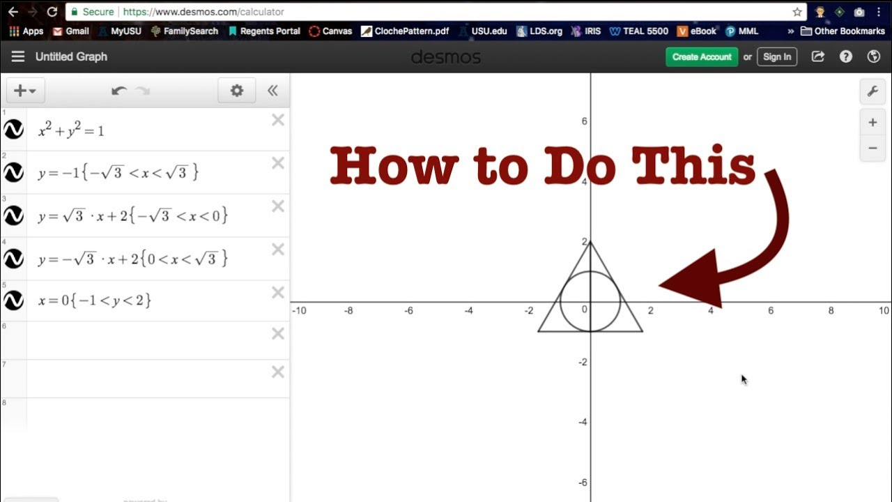 Graphing Cool Things The Deathly Hallows Symbol Youtube