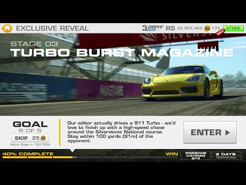 Real Racing 3:- Exclusive Reveal Stage 03 Goal 5 TURBO BURST MAGAZINE Porsche Cayman GT4