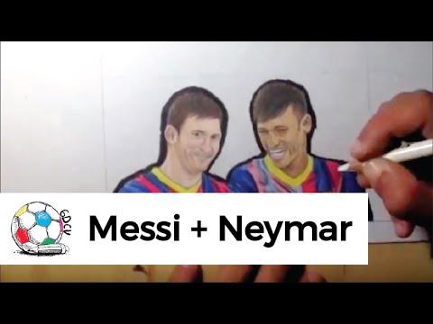 Dibujo de Messi y Neymar en la presentacin del equipo de la
