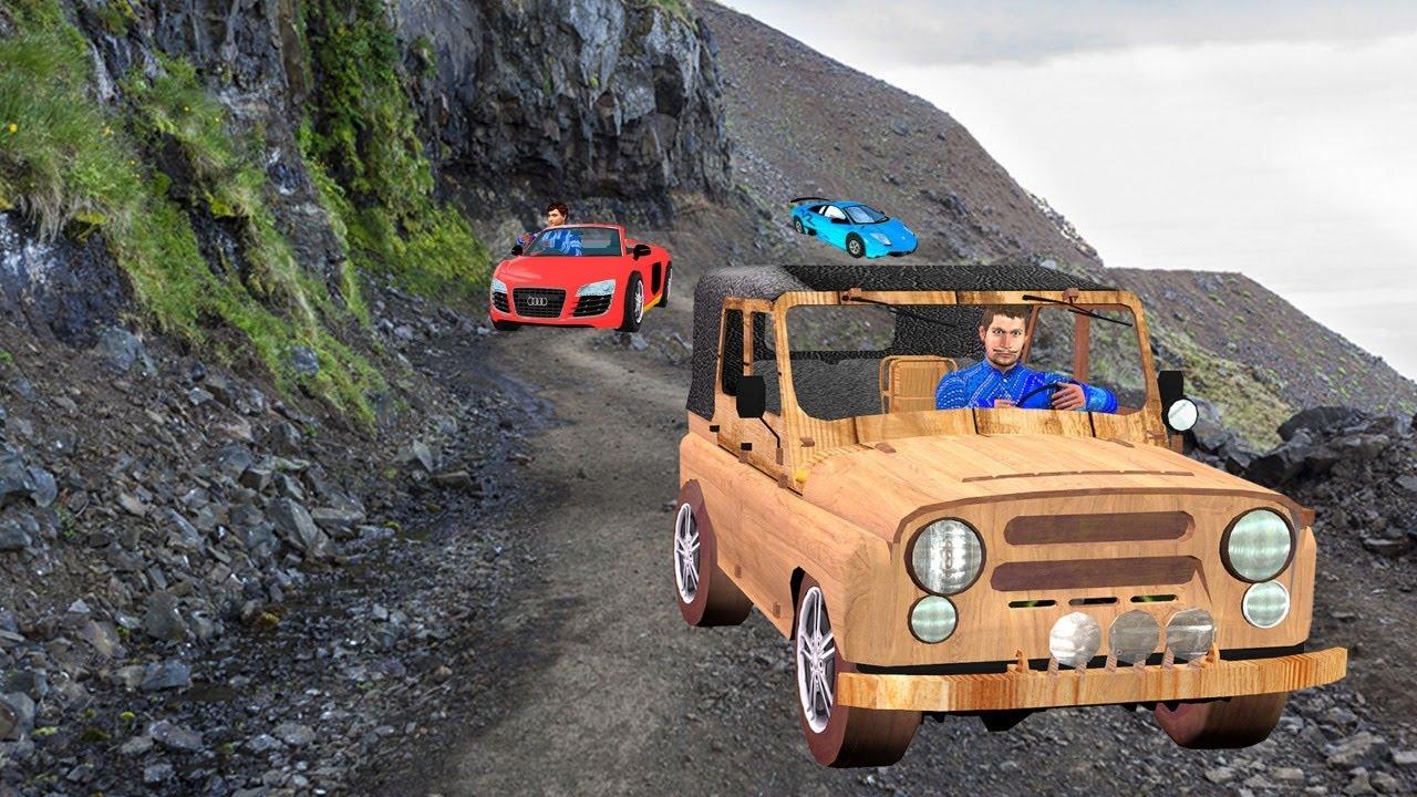 Must Watch New Funny Comedy Video गरीब लकड़ी जीप चुनौती Garib Ka Wooden Jeep Challenge Hindi Comedy