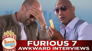 7 Awkward Minutes with the Cast of Furious 7 (The Rock, Vin Diesel, Jason Statham and More!!)