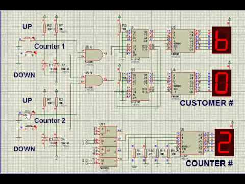 logic based electronic queuing system 74192 counter youtube. Black Bedroom Furniture Sets. Home Design Ideas