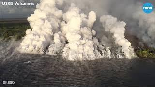 Kilauea volcano lava boils and evaporates away Hawaii's largest freshwater lake, Green Lake