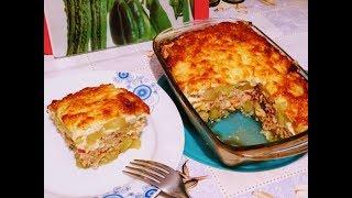 Картофельная запеканка с фаршем и овощами под сыром.