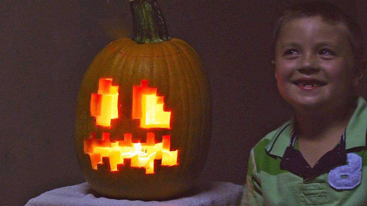 betty u0027s husband and grandson carve a minecraft jack o u0027 lantern