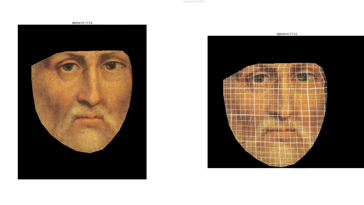 Face morphing with mesh-warp algorithm: from Leonardo da Vnci to Monalisa