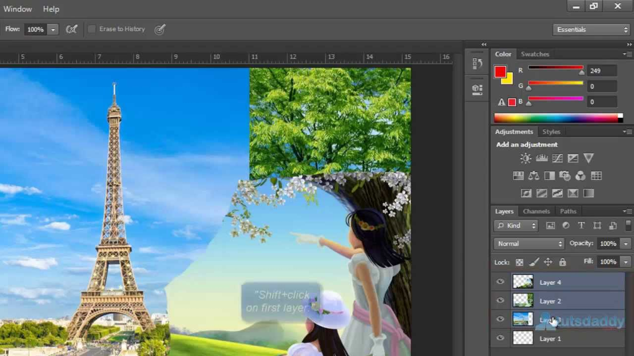 Blending layers in Photoshop Caught In Pixels