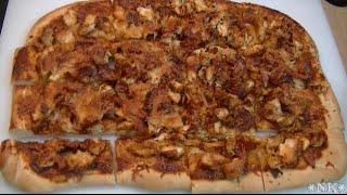 Super Cheesy Chicken Flatbread Recipe ~ Noreen's Kitchen