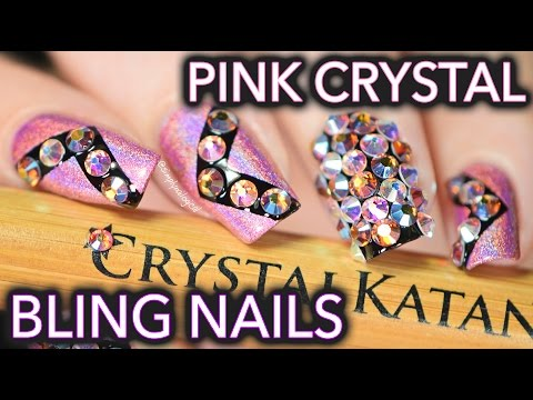 Crystal bling nails with the Crystal Katana ☆