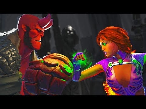 Thumbnail: Injustice 2 - Hellboy vs Starfire All Intros, Clash Quotes And Supermoves