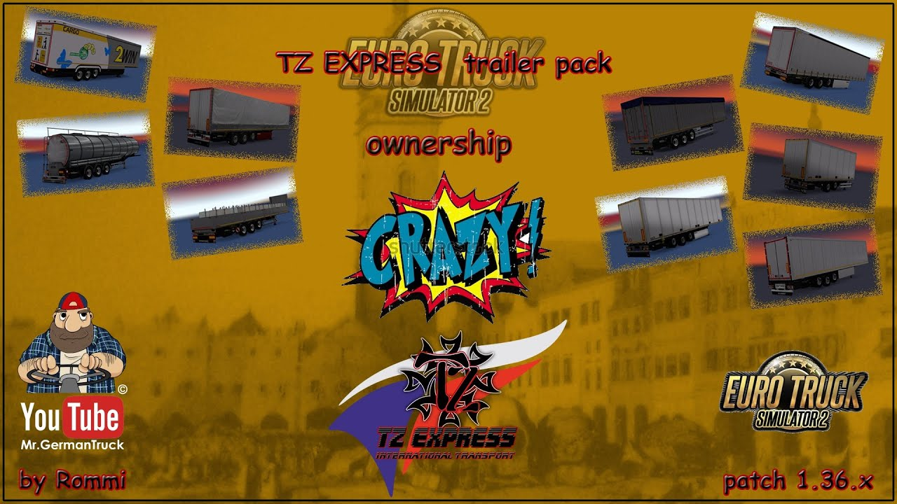 [ETS2 v1.36] TZ Express Trailers Pack + Ownable Package *Mega Mod*