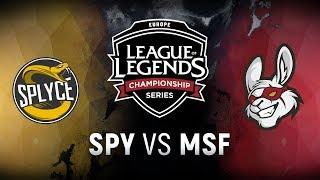 SPY vs. MSF - Week 8 Day 1 | EU LCS Spring Split |  Splyce vs. Misfits Gaming (2018)