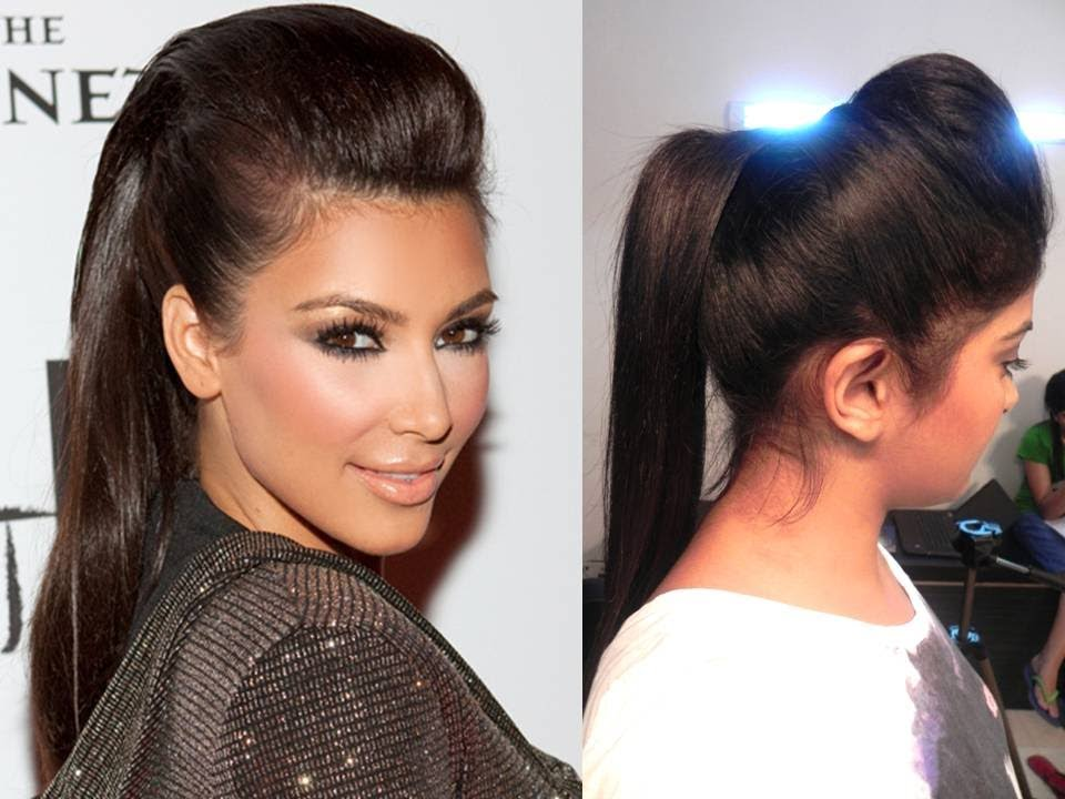 Hairstyles For Long Hair S In Hindi : Kim kardashian inspired ponytail with a puff youtube