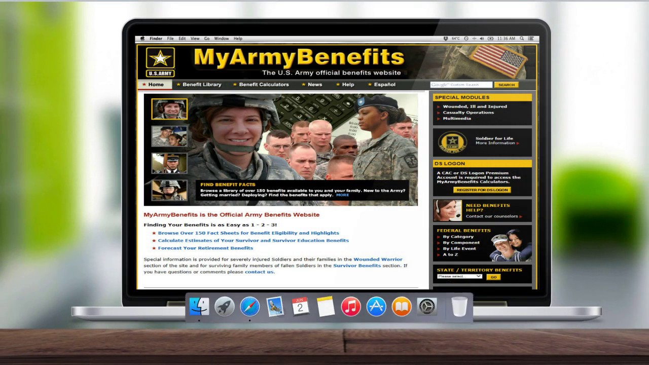 MyArmyBenefits is the official benefits website of the U.S. Army. It has over 150 benefit fact sheets on federal and state level benefits, as well as calculators for retirement, survivor benefits, disability, and deployment.