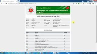 Ssc Result 2017 Comilla Board Marksheet